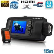 15 m Remote Control Waterproof Camera Diving Full HD Sports Camera 1080P 32 GB