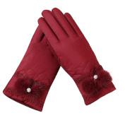 Webla Women Winter Outdoor Windproof Gloves Sport Ski Small Faux Fur Pompom Gloves