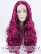 Chantiche Wavy Purple Lace Front Wig UK Long Synthetic Wigs for Women Heat Resistant 60cm + Free Wig Cap