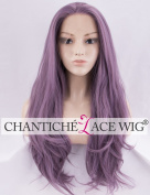 Chantiche Ash Purple Lace Front Wig for Ladies Natural Straight Long Synthetic Wig UK Heat Resistant Hair Wigs Half and Half Tied 60cm
