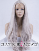 Chantiche Silver Grey Lace Front Wig Natural Straight Long Synthetic Wigs for Women High Quality Gary Hair Wig 60cm