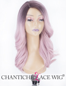 Chantiche Baby Pink Ombre Wigs Dark Roots, Glueless Synthetic Wig for Women Medium Length Wavy Cheap Machine Made Wig with Side Parting