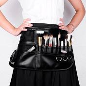Msmask New Empty Makeup Brush Waist bag Pro Soft Super Leather Belt Waist Bag Black