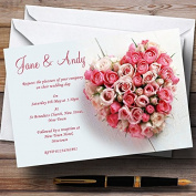 Pink Heart Roses Personalised Wedding Stationery Invitations / Invites & Envelopes