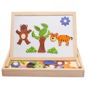 ZZM Wooden Educational Toy - Double-sided board three-dimensional magnetic puzzle blocks Alphabet Letters, Numbers, Animals Games Educational Toy
