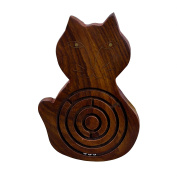 Set of 6, Classic Wooden Labyrinth Ball Maze Jigsaw Puzzle Board Game in Cat Shape - Christmas Presents for Him, Her, Kids & Adults