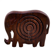 Set of 2, Classic Wooden Labyrinth Ball Maze Jigsaw Puzzle Board Game in Elephant Shape - Christmas Gifts for Boys, Girls, Kids & Adults
