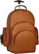 Rolling Leather Laptop Backpack w 2 Large Front Pockets