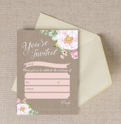 Pack of 10 Vintage Floral Wedding Invitations with Envelopes