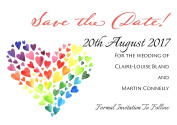 Invitations by Shell Windsor Save the Date Cards - Personalised Heart of Hearts