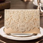 PONATIA 25 PCS Luxury Laser Cut Invitations Cards Kits Flora Invitation Cardstock Packs with Envelope and Adhesive Seals For Cocktailparty Festival Wedding Party(Gold Card)