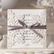 Wishmade Wedding Invitations Kits 50X with Ivory Lace Design Laser Cut Birthday Cards for Party Favours