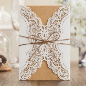 Wishmade Laser Cut Wedding Invitations Cardstock Ivory Retro Lace Flower Birthday Party Invites Cards Kits Engagement Marriage Bridal Shower Baby Shower with Handmade Hemp Rope Envelopes Seals Party Favours Set of 50 Pieces