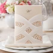 50 Pieces Wishmade Laser Cut Wedding Invitations Cards Kits Engagement Lace Style Vertical Ivory Pocket for Marriage Anniversary Cardstock with Envelope and Seal Bride Shower Packs Favours