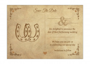 Vintage Equestrian Save The Date Note Cards With Brown Ribbed Kraft Envelopes - Pack of 20 - By Artstore