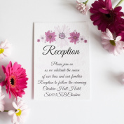 30 Personalised Reception Card Purple Daisy Wedding Invitations 300gsm with white envelopes
