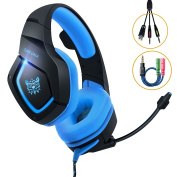 Gaming Headset PS4, MillSO K1 PC Gaming Headphone for Xbox One S Nintendo Switch Laptop With Stereo Noise Cancelling Mic LED Light Volume Control 3.5mm Audio Splitter Cable