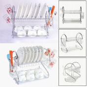 MultiWare Tier Chrome Plate Dish Cutlery Cup Drainer Rack Drip Tray Plates Holder