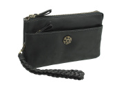 Mala Leather TUDOR Collection Leather Wristlet / Clutch - RFID Protected 7119_88 Black