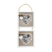 Just Contempo Modern Heart Pendulum Multi Photo Frame, Wooden, 17x37 cm – White