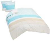 Comptoir du Linge Printed Duvet Cover plus 2 Pillowcases, Cotton Aqua 220 x 240 cm