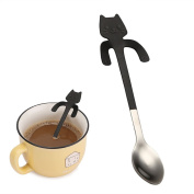 wuayi Novelty Adorable Cat Hanging Cup Spoon Long Handle Spoons Flatware Coffee Drinking Tools 304 Stainless Steel Kitchen Gadget