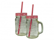 Jocca Polka Dots Glass Jar Cups with Straw Duo Set, Transparent/Red