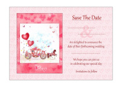 Horse And Carriage Save The Date Cards With Pink Envelopes - Pack of 20 - By Artstore