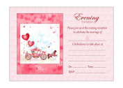 Horse And Carriage Evening Reception Invitations With Pink Envelopes - Pack of 20 - By Artstore
