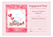 Horse And Carriage Engagement Party Invitations With Pink Envelopes - Pack of 20 - By Artstore