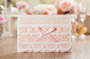 15 X Luxurious Pink Romantic Lace Laser Cut Wedding Invitation Cards, FREE matching envelop / insert card / seal