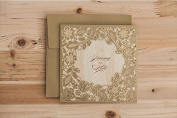 15 X Designer Luxurious Gold/Olive Floral Embossed Laser Cut Wedding Invitation Cards, FREE matching envelop / insert card / seal