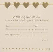 Wedding Invitations - Gold Hearts design x10
