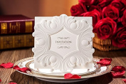 10 X Designer Luxurious Pearl White Embossed Wedding Invitation Cards, FREE matching envelop, FREE matching insert card and FREE seal