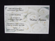 10 x Elegant Personalised White Roses Wedding invitations day or evening - postcard style