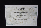 10 x Elegant Personalised White Roses RSVP Cards with envelopes - postcard rose style