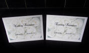 10 x Elegant Personalised White Roses Wedding invitations day or evening - size a6