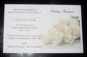 10 x Elegant Personalised White Rose Wedding invitations day or evening - postcard style