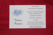 10 x Elegant Personalised Wedding invitations day or evening Elegant Heart design with diamonte detail -postcard style various colours