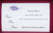 10 Personalised Postcard Style Wedding Save the Date Invitations, Double Heart Design with diamonte detail