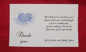 Personalised Wedding thank you gift cards – postcard style – elegant heart design – x 10 - various colours