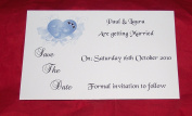 10 Personalised Postcard Style Wedding Save the Date Invitations, Elegant Heart Design with diamonte detail