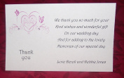Personalised Wedding thank you gift cards – postcard style – butterfly heart design – x 10 - various colours