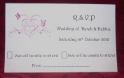 Personalised Postcard RSVP Cards Butterfly Heart Design with envelopes various colours x 10