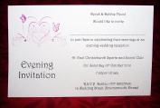 10 x Elegant Personalised Wedding invitations day or evening Butterfly Heart design with diamonte detail - (a6 or postcard style) various colours