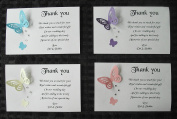 Personalised Wedding thank you gift cards – postcard style – Elegant butterfly design – x 10 - various colours