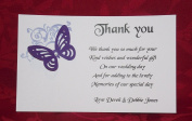 Personalised Wedding thank you gift cards – postcard style – corner butterfly design – x 10 - various colours