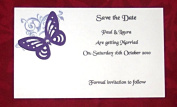 10 Personalised Postcard Style Wedding Save the Date Invitations, Corner Butterfly Design with diamonte detail
