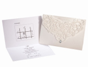 Sarahbridal Pack of 50 Personalised Hollow Crystal Wedding Invitation Card With Envelopes Ivory SQJ007