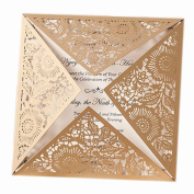 Sarahbridal 50Pcs Vintage Personalised Wedding Invitations Cards Laser Cut Hollow With Envelopes Champagne SQJ016